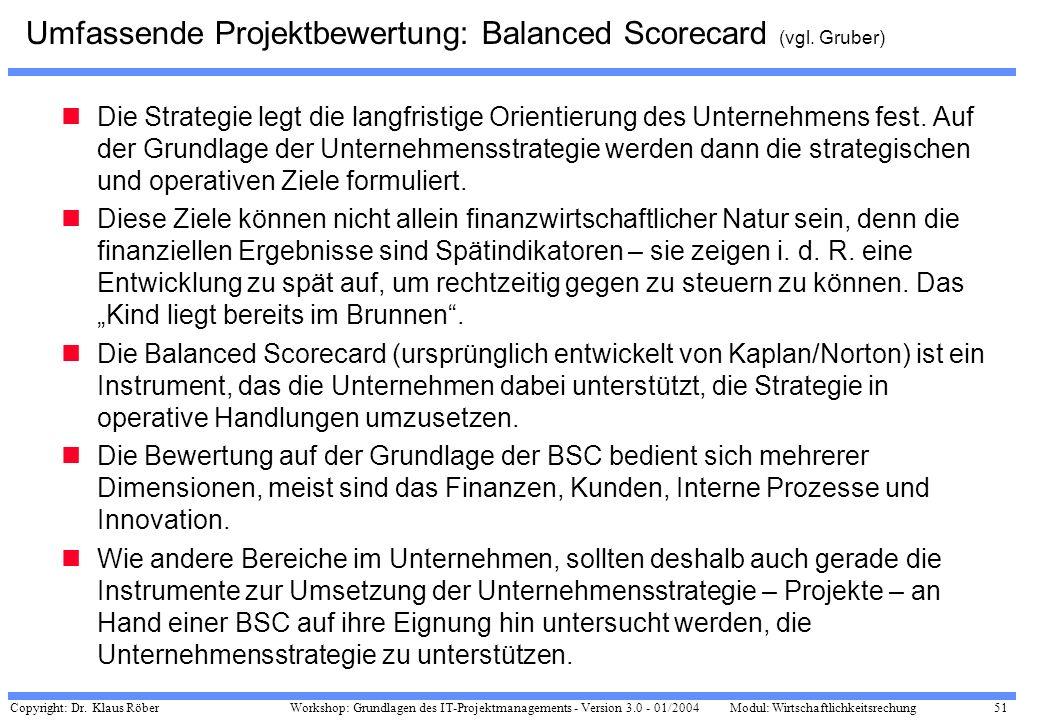 Copyright: Dr. Klaus Röber 51 Workshop: Grundlagen des IT-Projektmanagements - Version 3.0 - 01/2004Modul: Wirtschaftlichkeitsrechung Umfassende Proje
