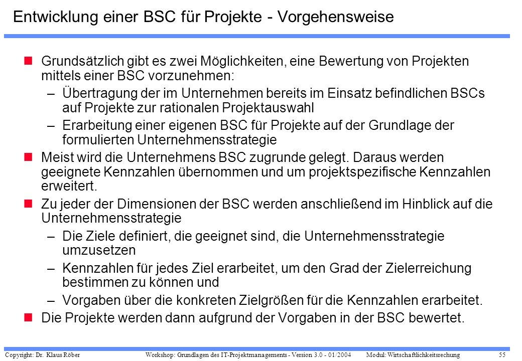 Copyright: Dr. Klaus Röber 55 Workshop: Grundlagen des IT-Projektmanagements - Version 3.0 - 01/2004Modul: Wirtschaftlichkeitsrechung Entwicklung eine