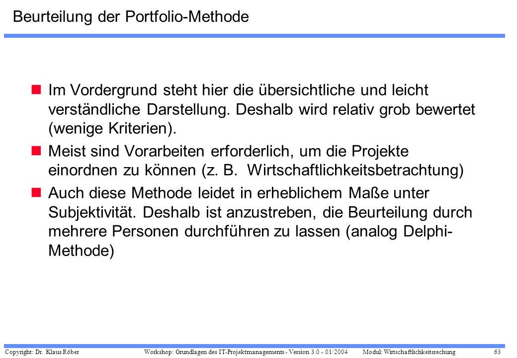 Copyright: Dr. Klaus Röber 63 Workshop: Grundlagen des IT-Projektmanagements - Version 3.0 - 01/2004Modul: Wirtschaftlichkeitsrechung Beurteilung der