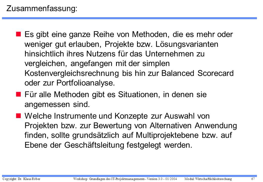 Copyright: Dr. Klaus Röber 67 Workshop: Grundlagen des IT-Projektmanagements - Version 3.0 - 01/2004Modul: Wirtschaftlichkeitsrechung Zusammenfassung:
