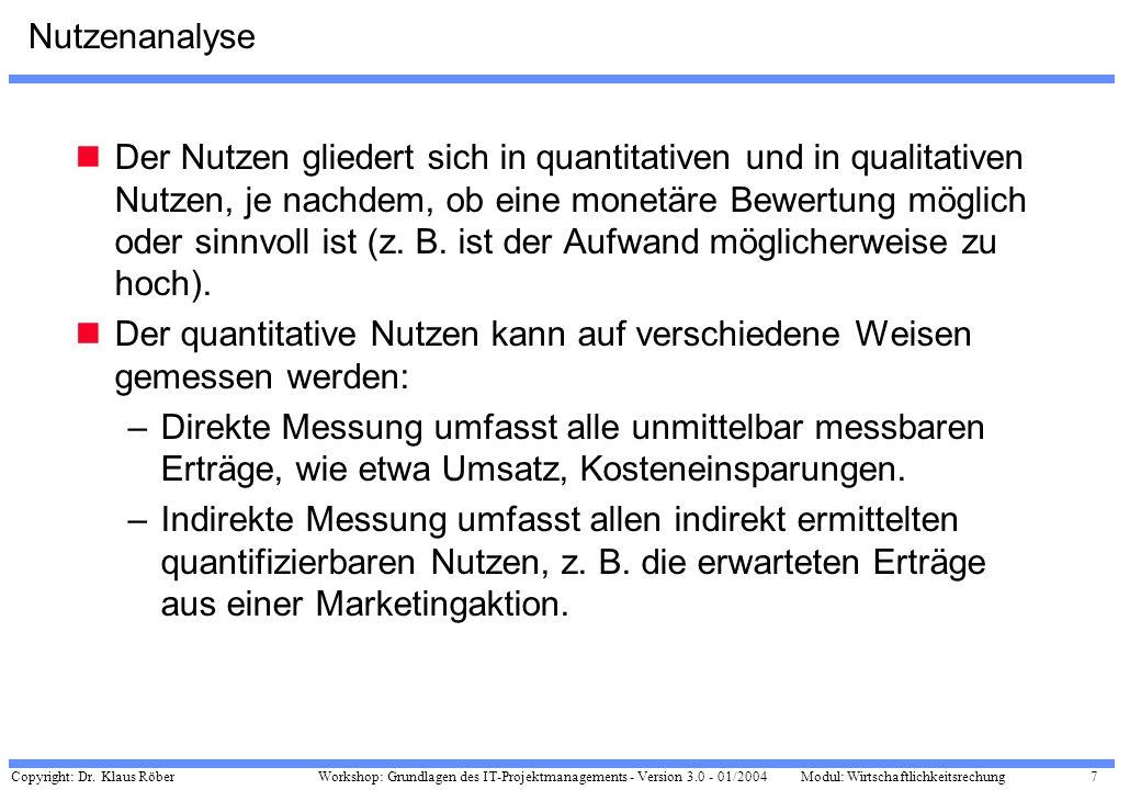 Copyright: Dr. Klaus Röber 7 Workshop: Grundlagen des IT-Projektmanagements - Version 3.0 - 01/2004Modul: Wirtschaftlichkeitsrechung Nutzenanalyse Der