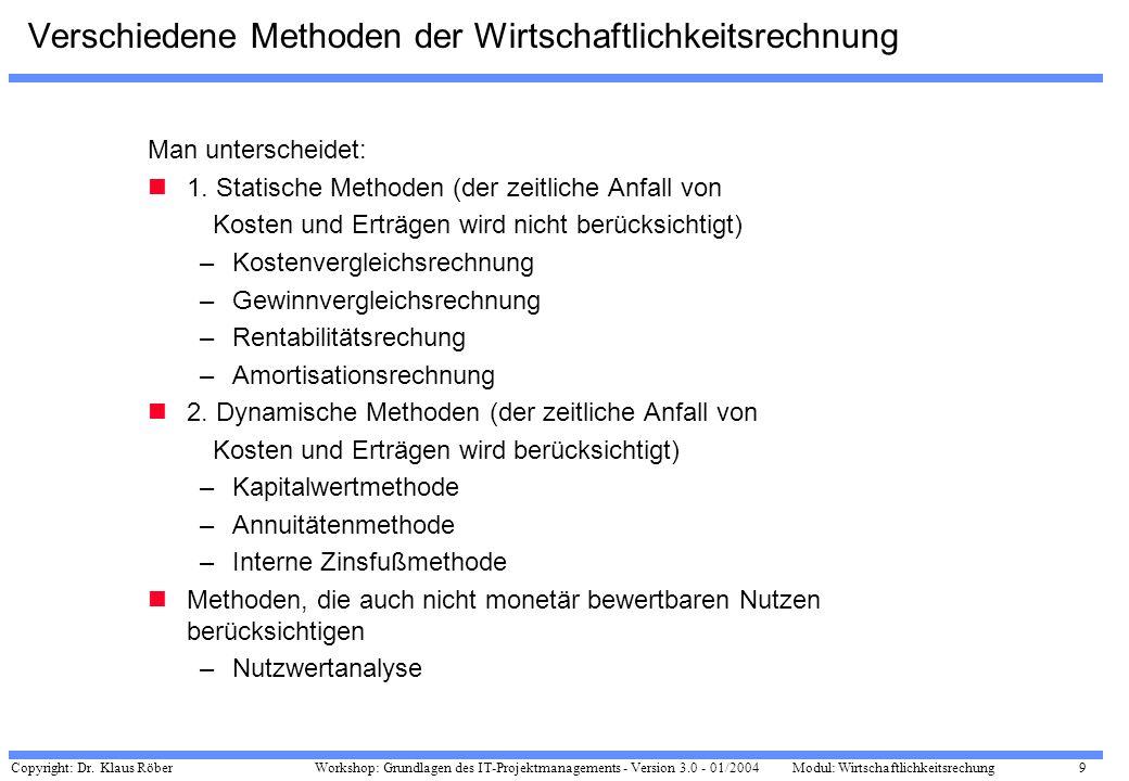 Copyright: Dr. Klaus Röber 9 Workshop: Grundlagen des IT-Projektmanagements - Version 3.0 - 01/2004Modul: Wirtschaftlichkeitsrechung Verschiedene Meth