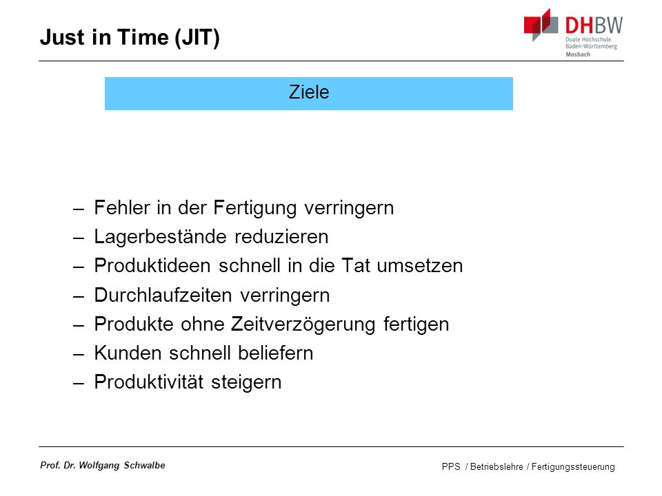 PPS / Betriebslehre / Fertigungssteuerung Prof.Dr.