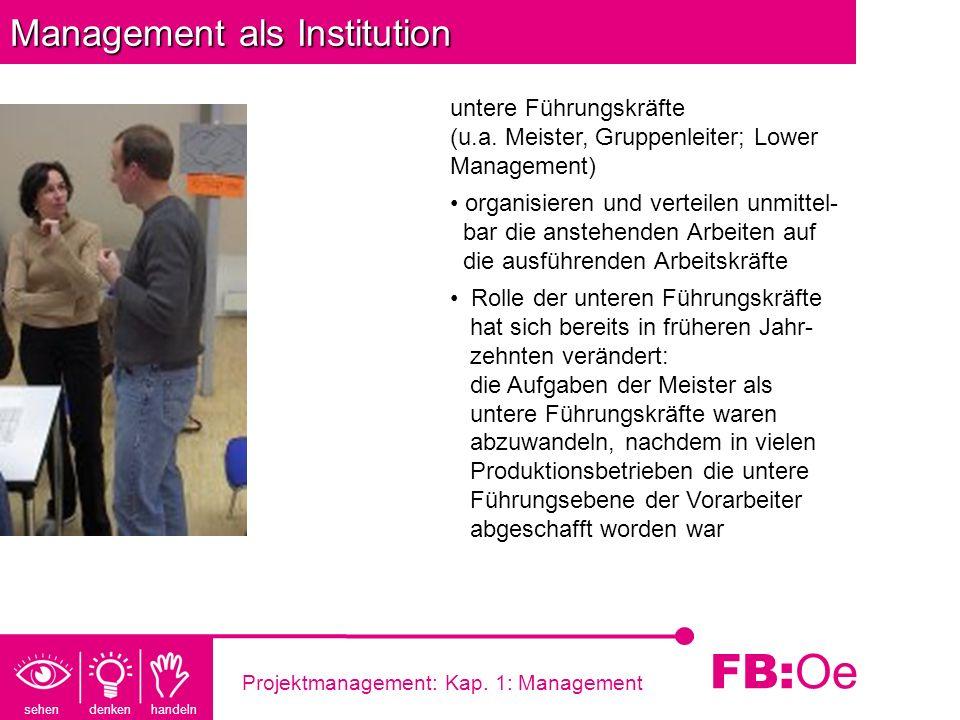 sehen denken handeln FB: Oe Projektmanagement: Kap. 1: Management Management als Institution untere Führungskräfte (u.a. Meister, Gruppenleiter; Lower