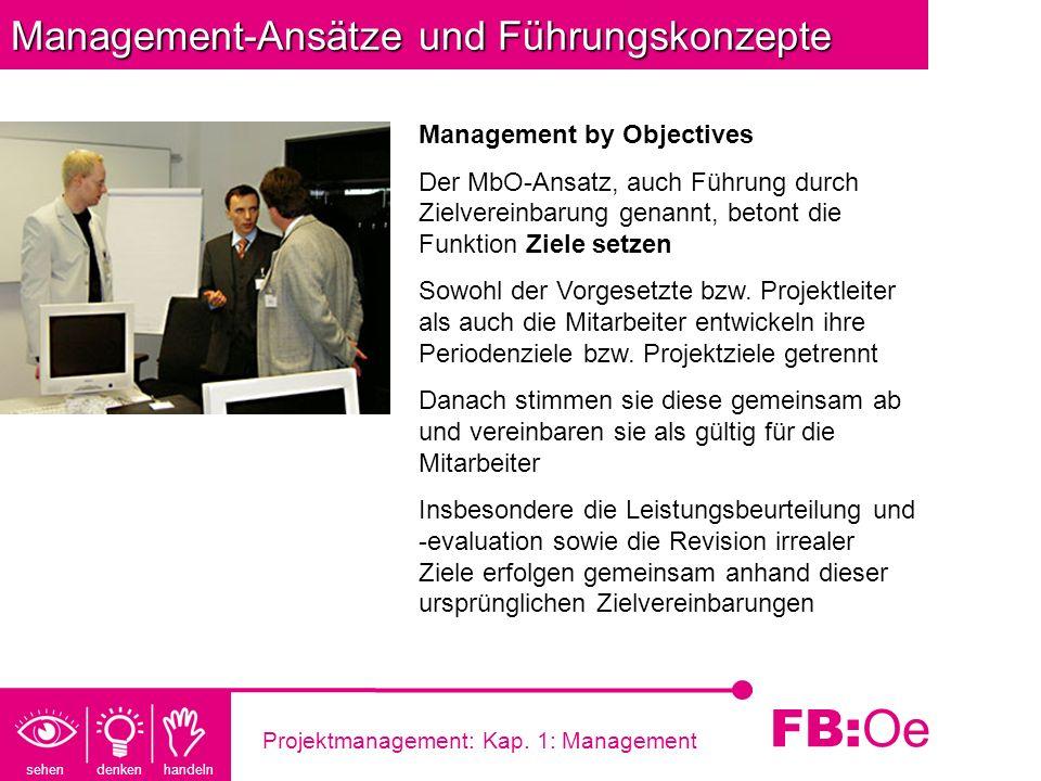 sehen denken handeln FB: Oe Projektmanagement: Kap. 1: Management Management-Ansätze und Führungskonzepte Management by Objectives Der MbO-Ansatz, auc