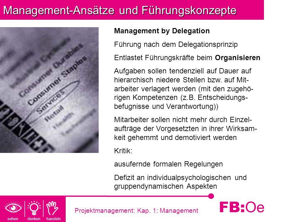 sehen denken handeln FB: Oe Projektmanagement: Kap. 1: Management Management-Ansätze und Führungskonzepte Management by Delegation Führung nach dem De