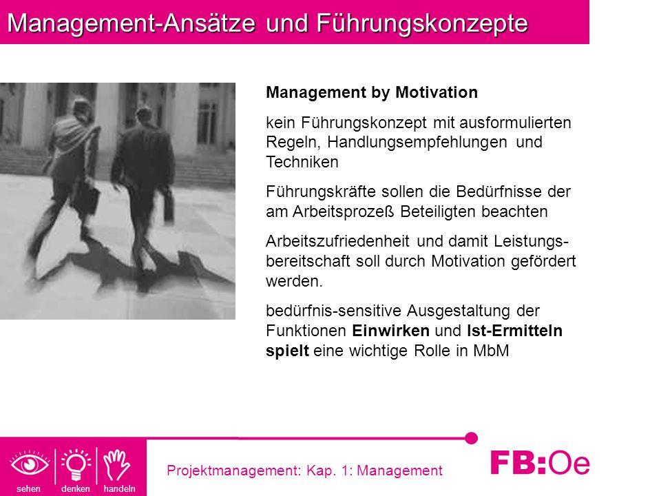 sehen denken handeln FB: Oe Projektmanagement: Kap. 1: Management Management-Ansätze und Führungskonzepte Management by Motivation kein Führungskonzep