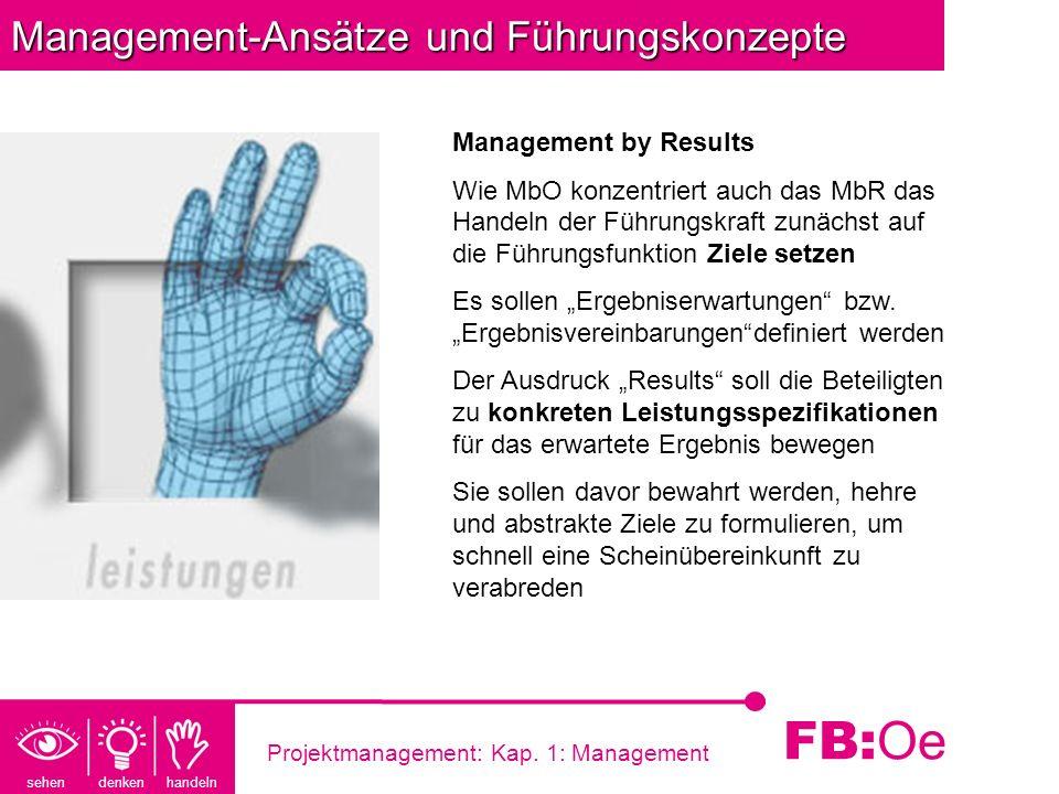 sehen denken handeln FB: Oe Projektmanagement: Kap. 1: Management Management-Ansätze und Führungskonzepte Management by Results Wie MbO konzentriert a