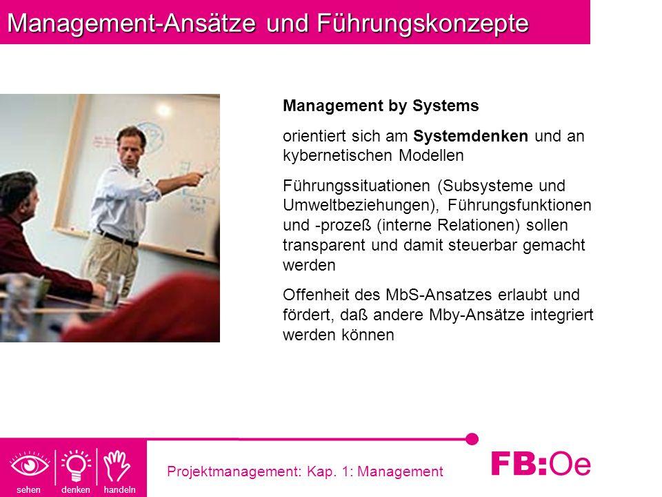 sehen denken handeln FB: Oe Projektmanagement: Kap. 1: Management Management-Ansätze und Führungskonzepte Management by Systems orientiert sich am Sys