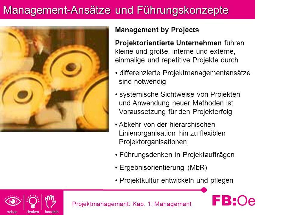 sehen denken handeln FB: Oe Projektmanagement: Kap. 1: Management Management-Ansätze und Führungskonzepte Management by Projects Projektorientierte Un