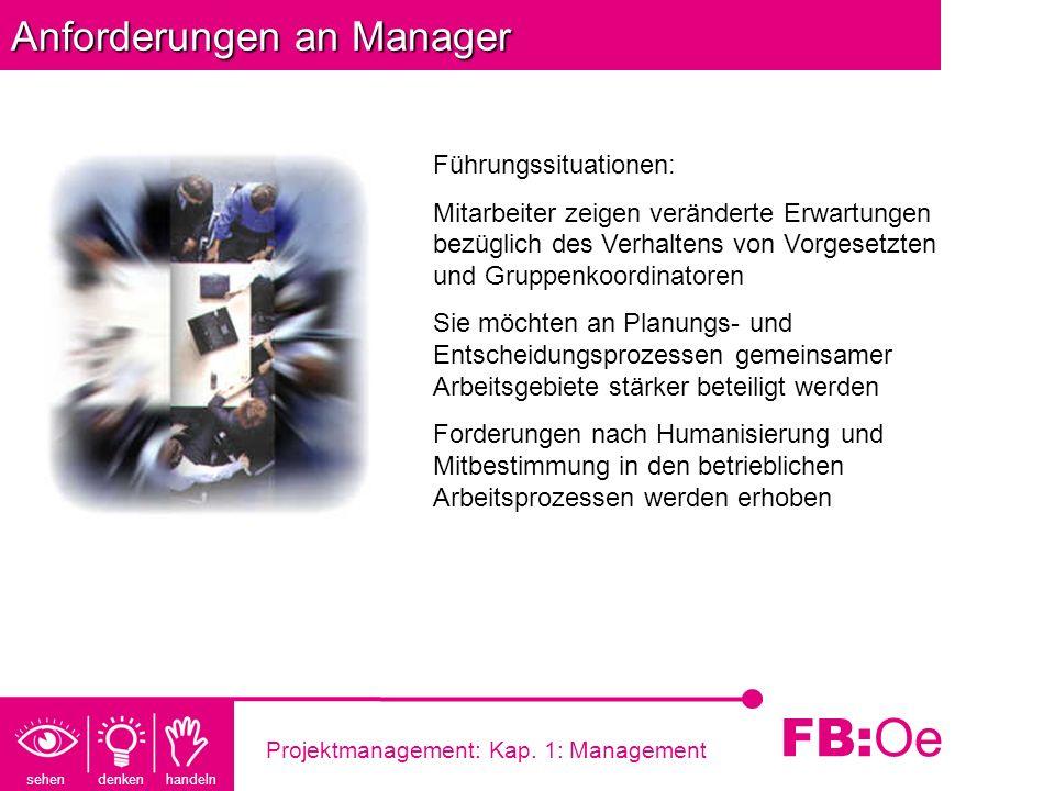 sehen denken handeln FB: Oe Projektmanagement: Kap. 1: Management Anforderungen an Manager Führungssituationen: Mitarbeiter zeigen veränderte Erwartun
