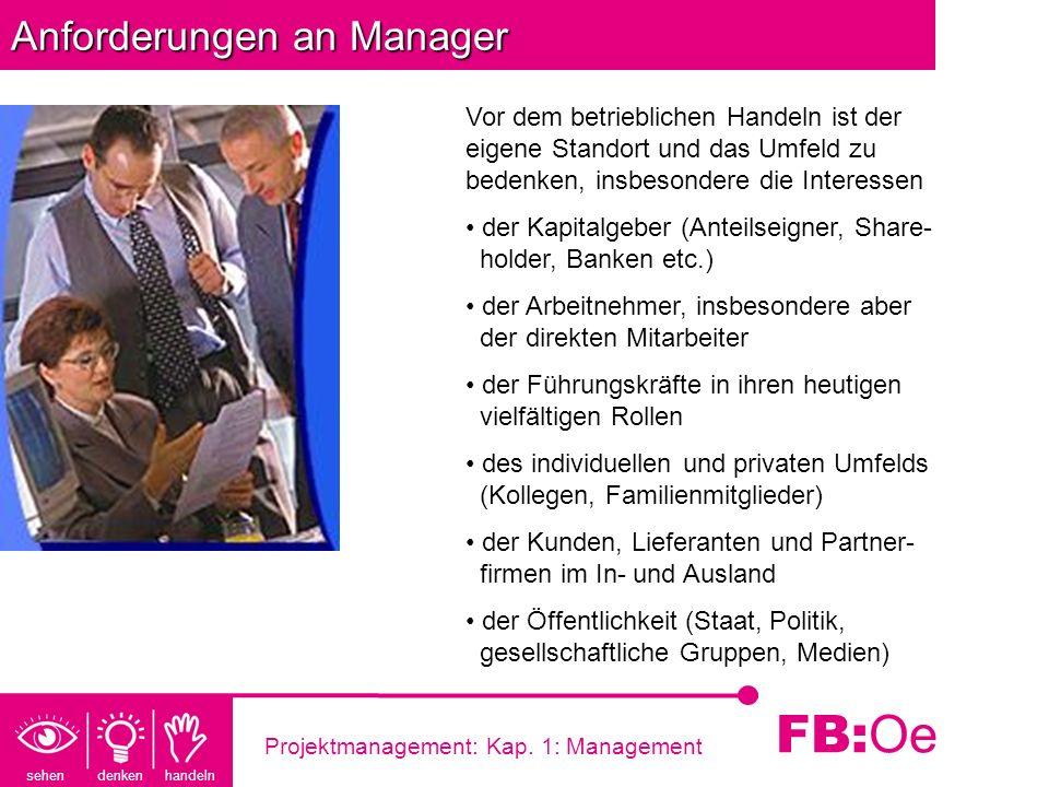 sehen denken handeln FB: Oe Projektmanagement: Kap. 1: Management Anforderungen an Manager Vor dem betrieblichen Handeln ist der eigene Standort und d