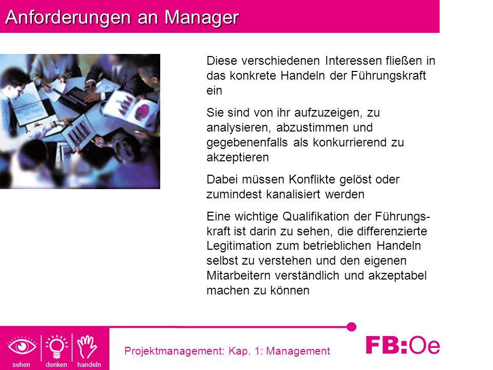 sehen denken handeln FB: Oe Projektmanagement: Kap. 1: Management Anforderungen an Manager Diese verschiedenen Interessen fließen in das konkrete Hand