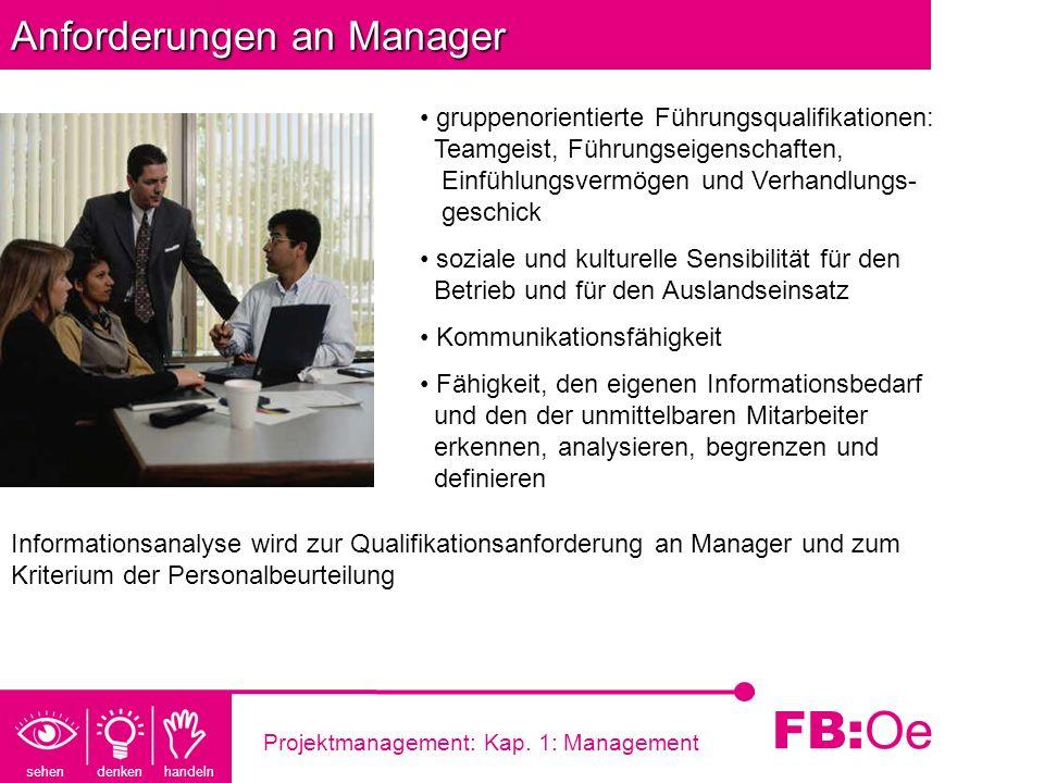 sehen denken handeln FB: Oe Projektmanagement: Kap. 1: Management Anforderungen an Manager gruppenorientierte Führungsqualifikationen: Teamgeist, Führ
