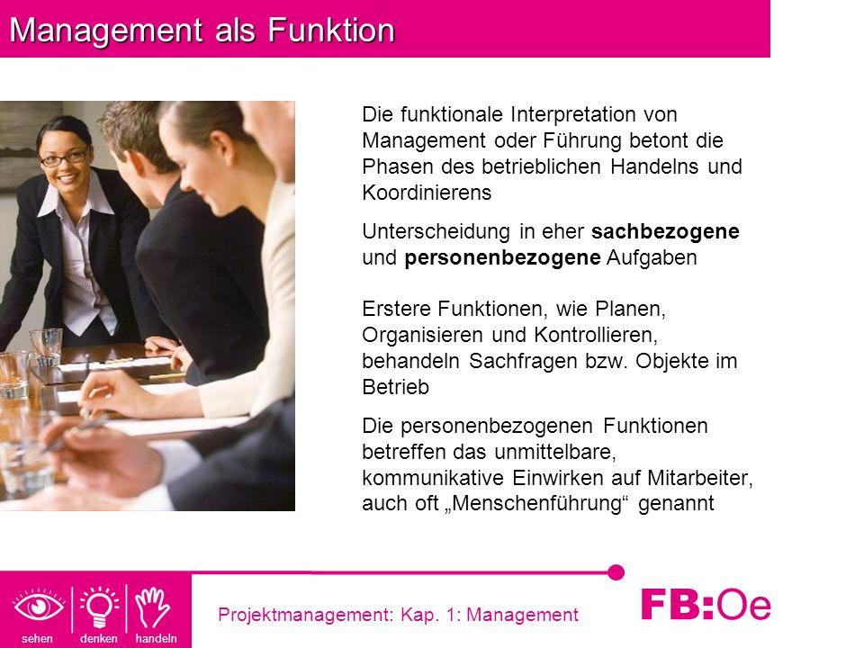 sehen denken handeln FB: Oe Projektmanagement: Kap. 1: Management Management als Funktion Die funktionale Interpretation von Management oder Führung b