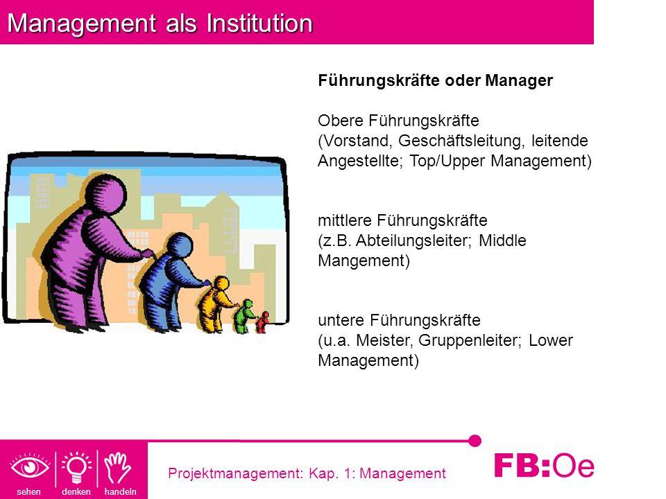 sehen denken handeln FB: Oe Projektmanagement: Kap. 1: Management Management als Institution Führungskräfte oder Manager Obere Führungskräfte (Vorstan