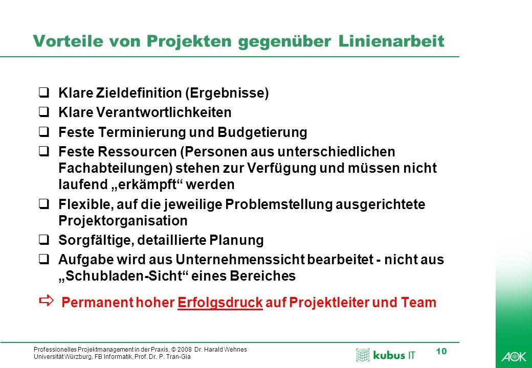 Professionelles Projektmanagement in der Praxis, © 2008 Dr. Harald Wehnes Universität Würzburg, FB Informatik, Prof. Dr. P. Tran-Gia 10 Vorteile von P