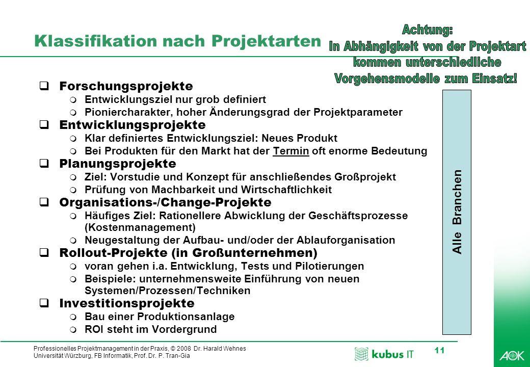 Professionelles Projektmanagement in der Praxis, © 2008 Dr. Harald Wehnes Universität Würzburg, FB Informatik, Prof. Dr. P. Tran-Gia 11 Klassifikation