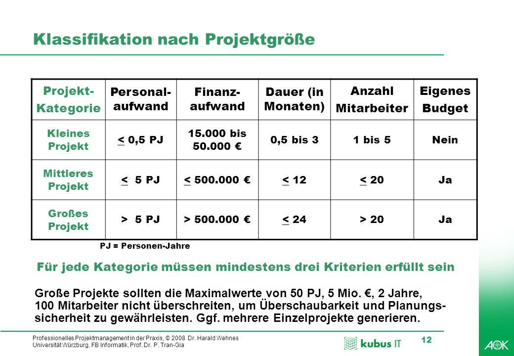 Professionelles Projektmanagement in der Praxis, © 2008 Dr. Harald Wehnes Universität Würzburg, FB Informatik, Prof. Dr. P. Tran-Gia 12 Klassifikation