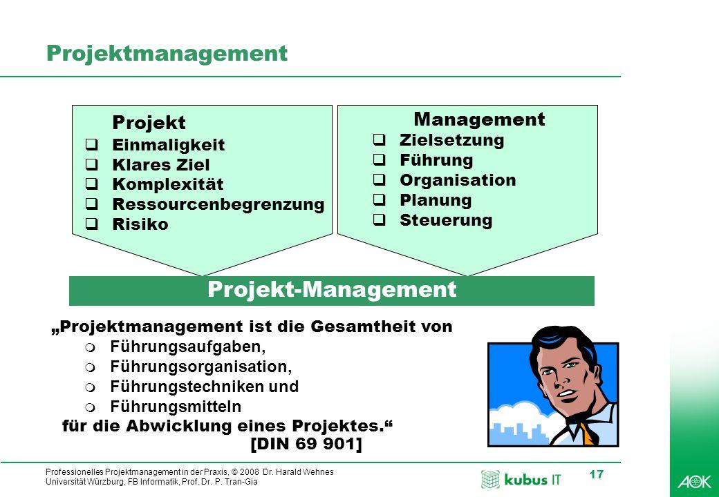 Professionelles Projektmanagement in der Praxis, © 2008 Dr. Harald Wehnes Universität Würzburg, FB Informatik, Prof. Dr. P. Tran-Gia 17 Projektmanagem