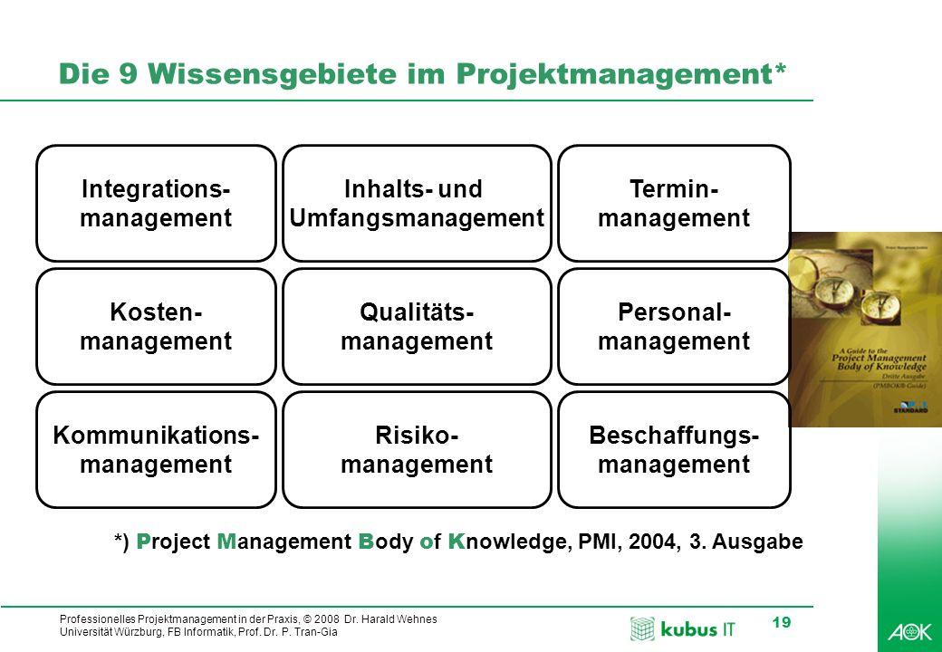 Professionelles Projektmanagement in der Praxis, © 2008 Dr. Harald Wehnes Universität Würzburg, FB Informatik, Prof. Dr. P. Tran-Gia 19 Die 9 Wissensg