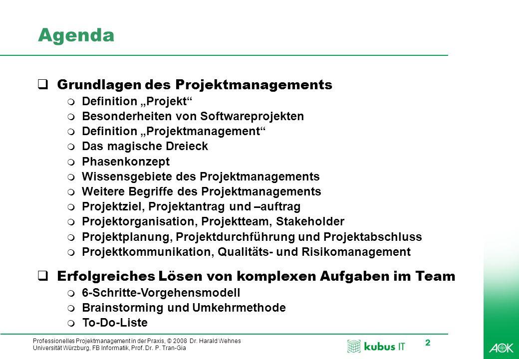 Professionelles Projektmanagement in der Praxis, © 2008 Dr. Harald Wehnes Universität Würzburg, FB Informatik, Prof. Dr. P. Tran-Gia 2 Agenda Grundlag
