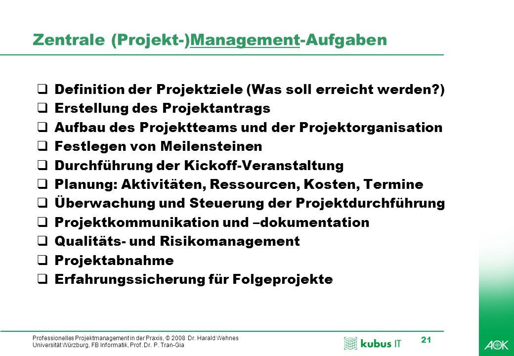 Professionelles Projektmanagement in der Praxis, © 2008 Dr. Harald Wehnes Universität Würzburg, FB Informatik, Prof. Dr. P. Tran-Gia 21 Zentrale (Proj