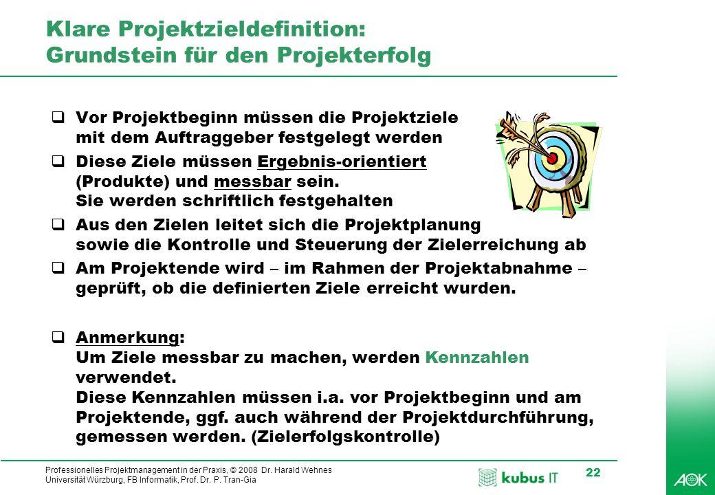 Professionelles Projektmanagement in der Praxis, © 2008 Dr. Harald Wehnes Universität Würzburg, FB Informatik, Prof. Dr. P. Tran-Gia 22 Klare Projektz