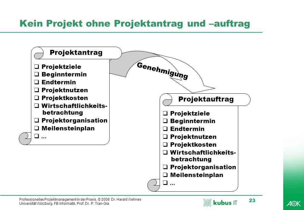 Professionelles Projektmanagement in der Praxis, © 2008 Dr. Harald Wehnes Universität Würzburg, FB Informatik, Prof. Dr. P. Tran-Gia 23 Genehmigung Ke