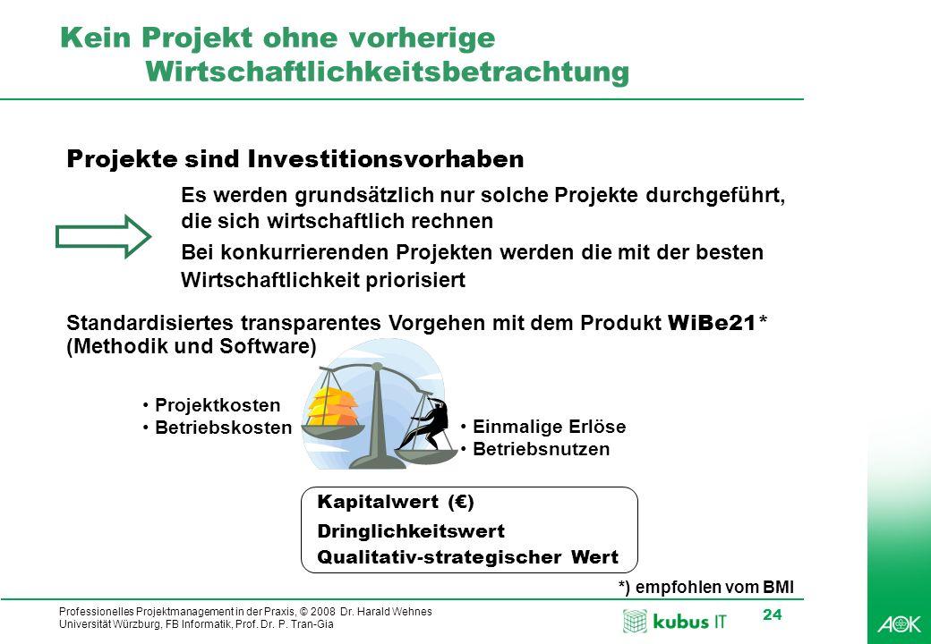 Professionelles Projektmanagement in der Praxis, © 2008 Dr. Harald Wehnes Universität Würzburg, FB Informatik, Prof. Dr. P. Tran-Gia 24 Kein Projekt o