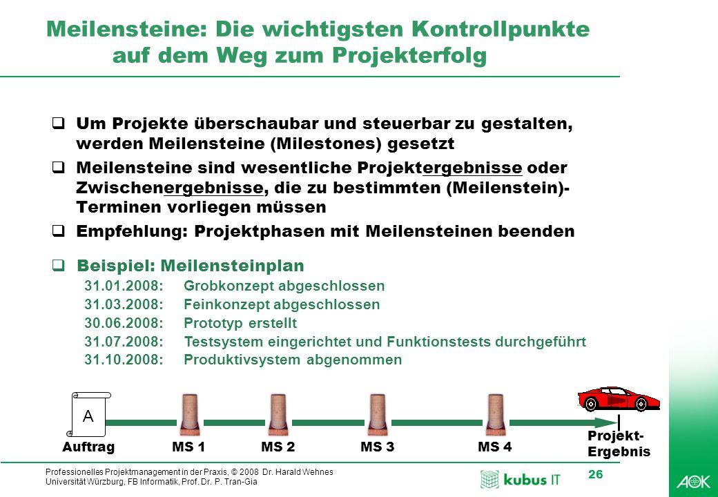 Professionelles Projektmanagement in der Praxis, © 2008 Dr. Harald Wehnes Universität Würzburg, FB Informatik, Prof. Dr. P. Tran-Gia 26 Meilensteine: