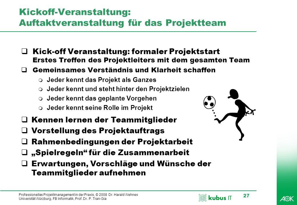 Professionelles Projektmanagement in der Praxis, © 2008 Dr. Harald Wehnes Universität Würzburg, FB Informatik, Prof. Dr. P. Tran-Gia 27 Kickoff-Verans