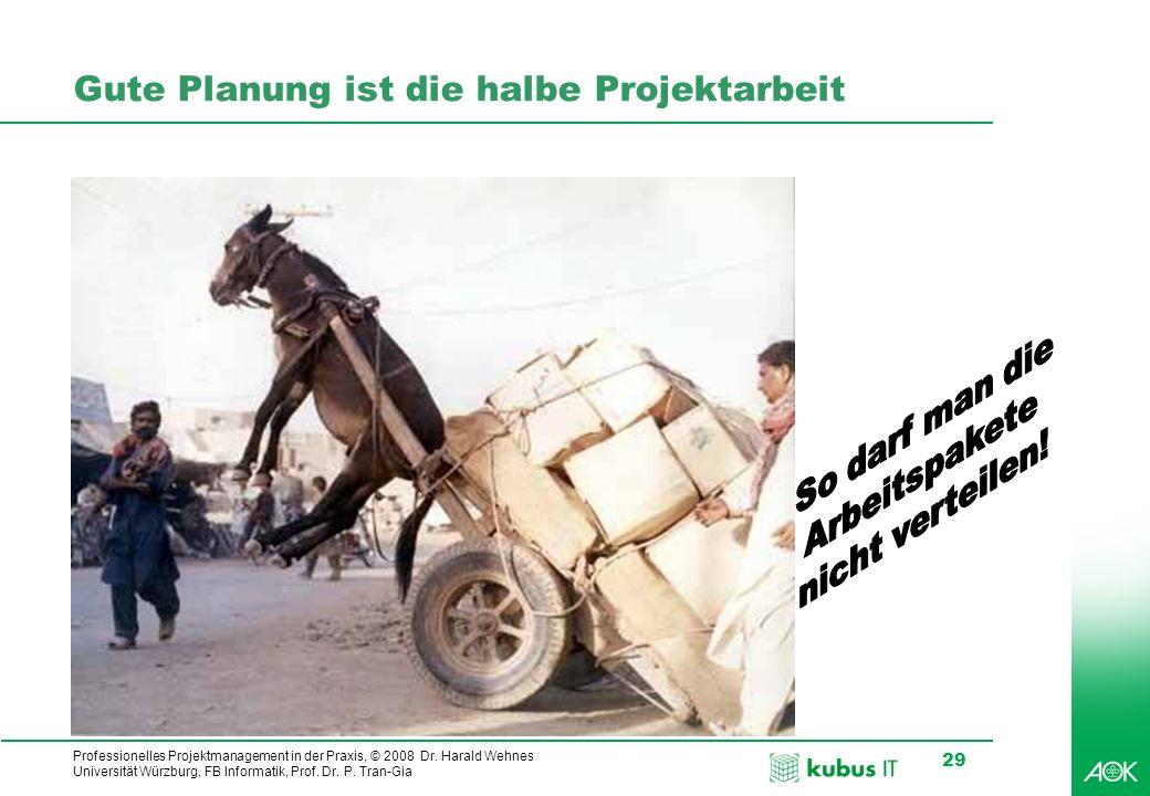 Professionelles Projektmanagement in der Praxis, © 2008 Dr. Harald Wehnes Universität Würzburg, FB Informatik, Prof. Dr. P. Tran-Gia 29 Gute Planung i
