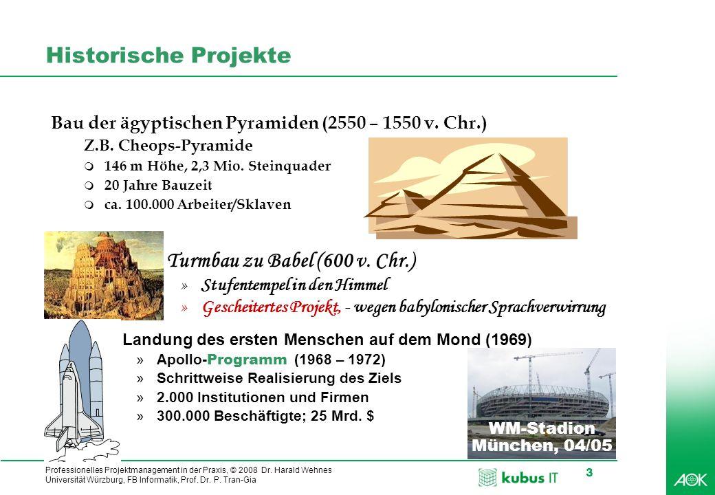 Professionelles Projektmanagement in der Praxis, © 2008 Dr. Harald Wehnes Universität Würzburg, FB Informatik, Prof. Dr. P. Tran-Gia 3 q Turmbau zu Ba