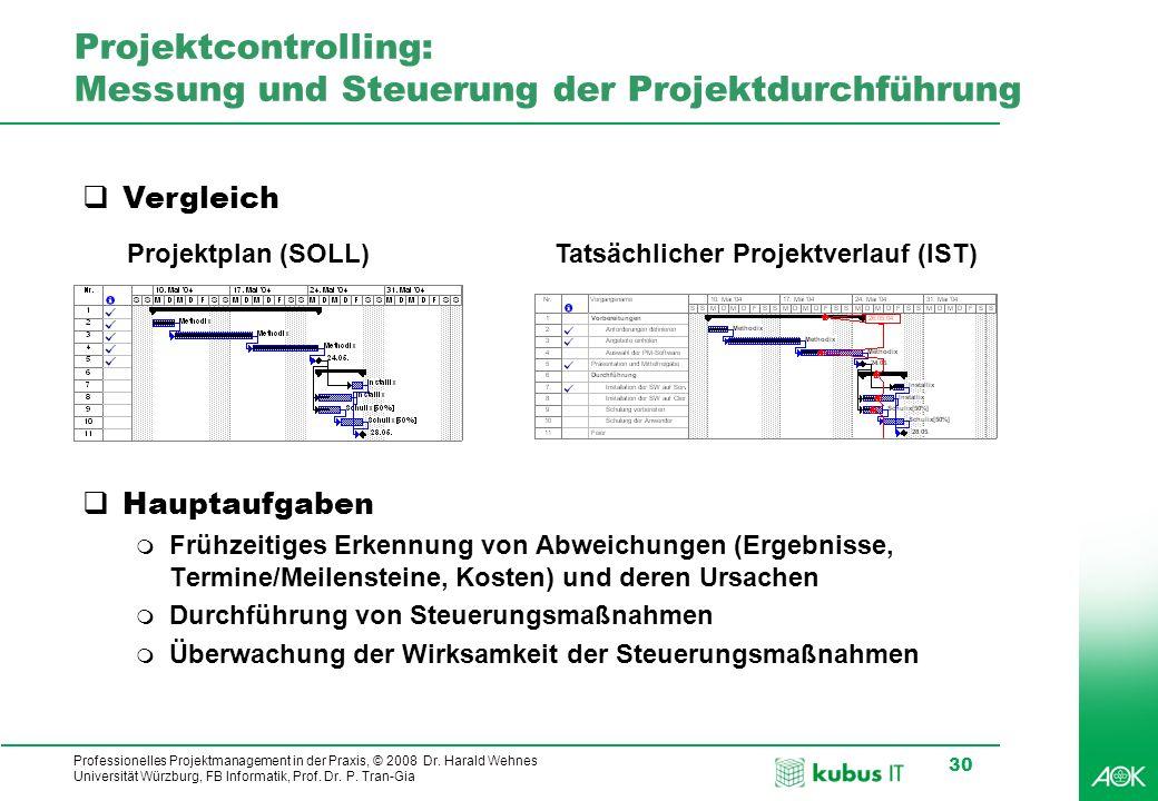Professionelles Projektmanagement in der Praxis, © 2008 Dr. Harald Wehnes Universität Würzburg, FB Informatik, Prof. Dr. P. Tran-Gia 30 Projektcontrol