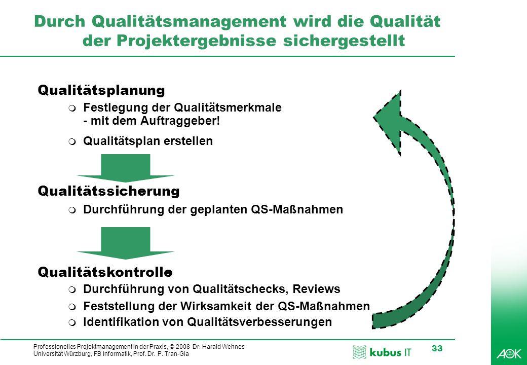 Professionelles Projektmanagement in der Praxis, © 2008 Dr. Harald Wehnes Universität Würzburg, FB Informatik, Prof. Dr. P. Tran-Gia 33 Durch Qualität