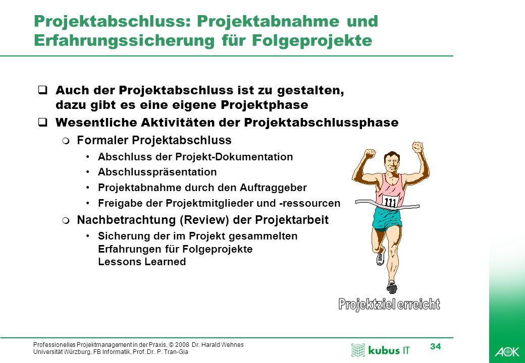 Professionelles Projektmanagement in der Praxis, © 2008 Dr. Harald Wehnes Universität Würzburg, FB Informatik, Prof. Dr. P. Tran-Gia 34 Projektabschlu