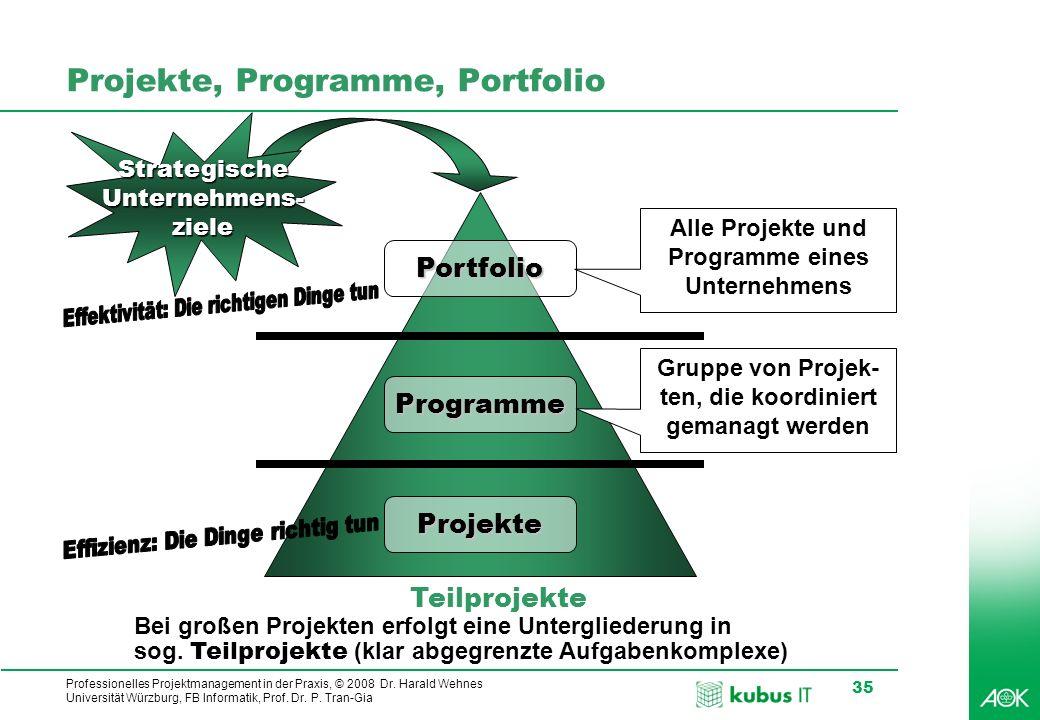 Professionelles Projektmanagement in der Praxis, © 2008 Dr. Harald Wehnes Universität Würzburg, FB Informatik, Prof. Dr. P. Tran-Gia 35 Projekte, Prog