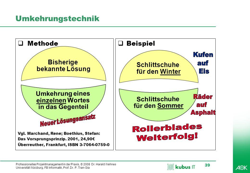Professionelles Projektmanagement in der Praxis, © 2008 Dr. Harald Wehnes Universität Würzburg, FB Informatik, Prof. Dr. P. Tran-Gia 39 Umkehrungstech