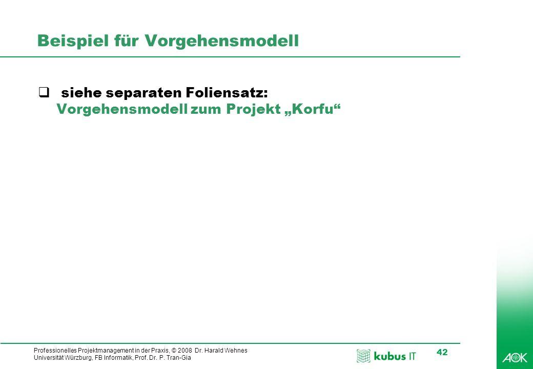 Professionelles Projektmanagement in der Praxis, © 2008 Dr. Harald Wehnes Universität Würzburg, FB Informatik, Prof. Dr. P. Tran-Gia 42 Beispiel für V