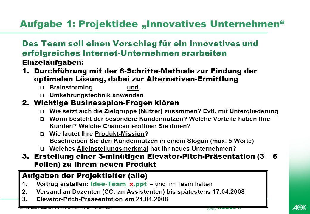 Professionelles Projektmanagement in der Praxis, © 2008 Dr. Harald Wehnes Universität Würzburg, FB Informatik, Prof. Dr. P. Tran-Gia 44 Aufgabe 1: Pro