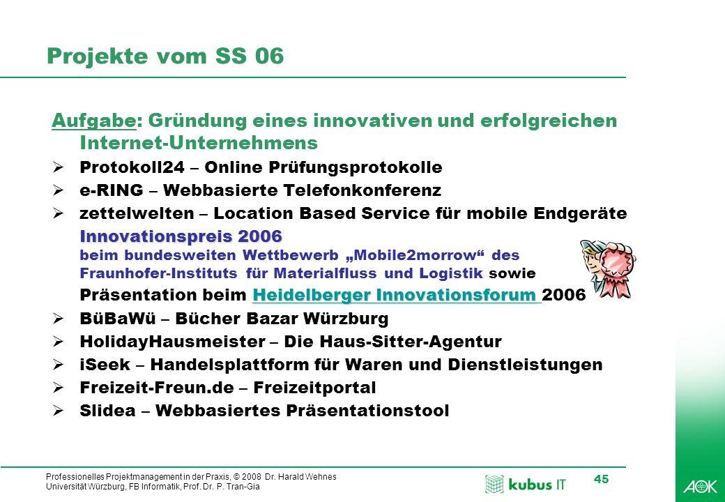 Professionelles Projektmanagement in der Praxis, © 2008 Dr. Harald Wehnes Universität Würzburg, FB Informatik, Prof. Dr. P. Tran-Gia 45 Projekte vom S