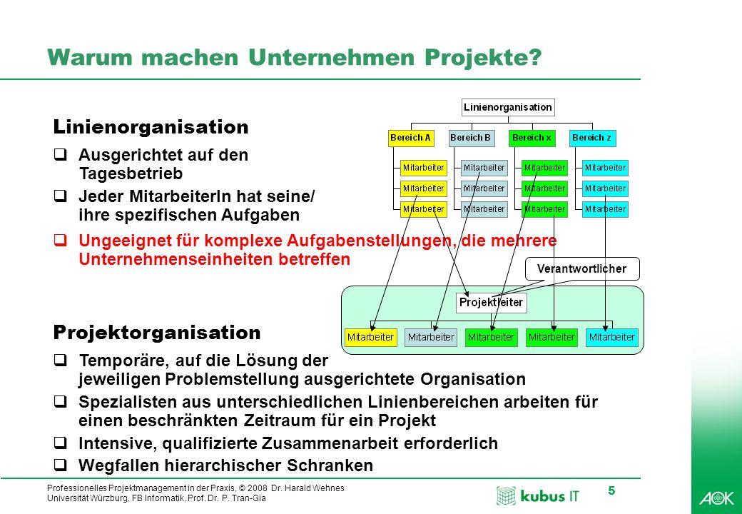 Professionelles Projektmanagement in der Praxis, © 2008 Dr. Harald Wehnes Universität Würzburg, FB Informatik, Prof. Dr. P. Tran-Gia 5 Warum machen Un