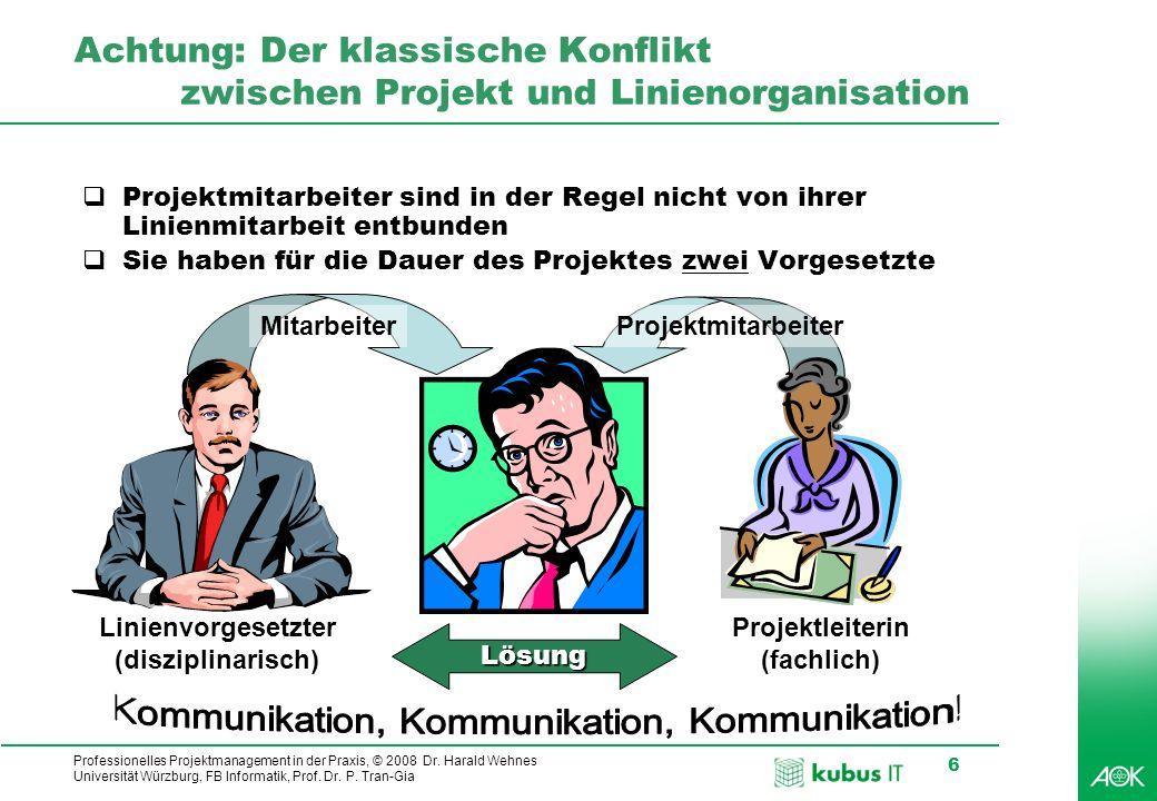 Professionelles Projektmanagement in der Praxis, © 2008 Dr. Harald Wehnes Universität Würzburg, FB Informatik, Prof. Dr. P. Tran-Gia 6 Achtung: Der kl