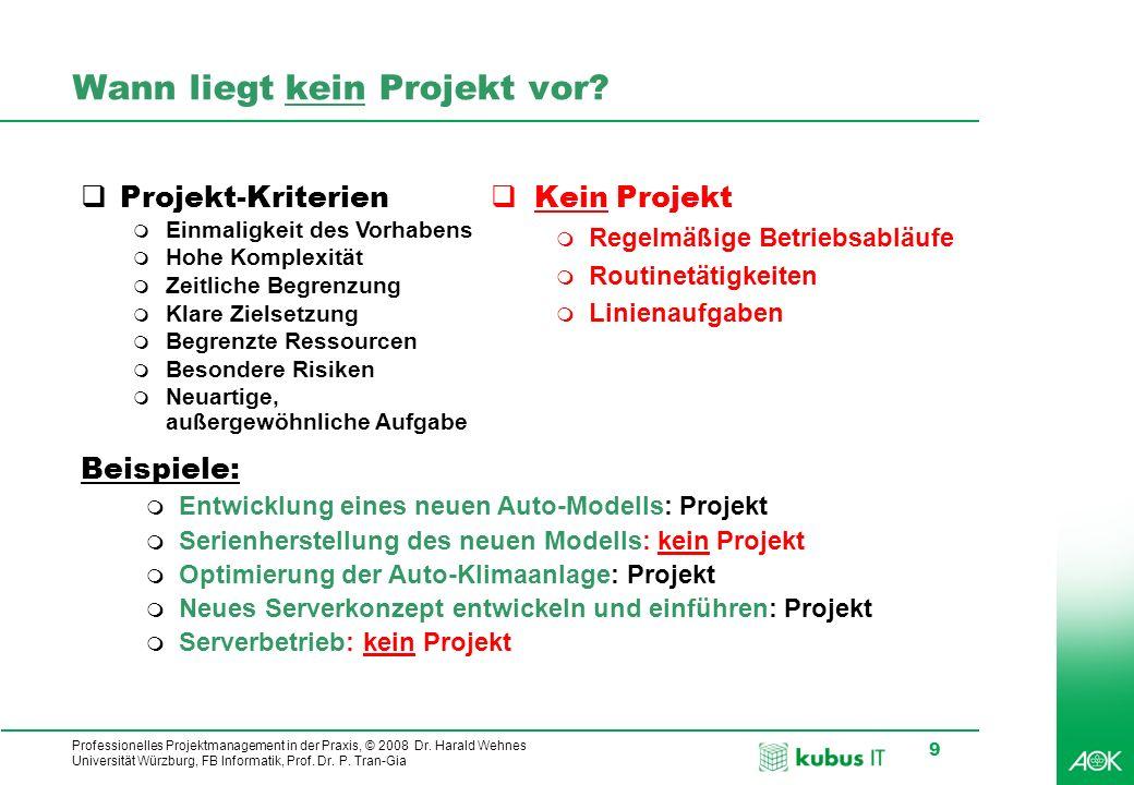 Professionelles Projektmanagement in der Praxis, © 2008 Dr. Harald Wehnes Universität Würzburg, FB Informatik, Prof. Dr. P. Tran-Gia 9 Wann liegt kein