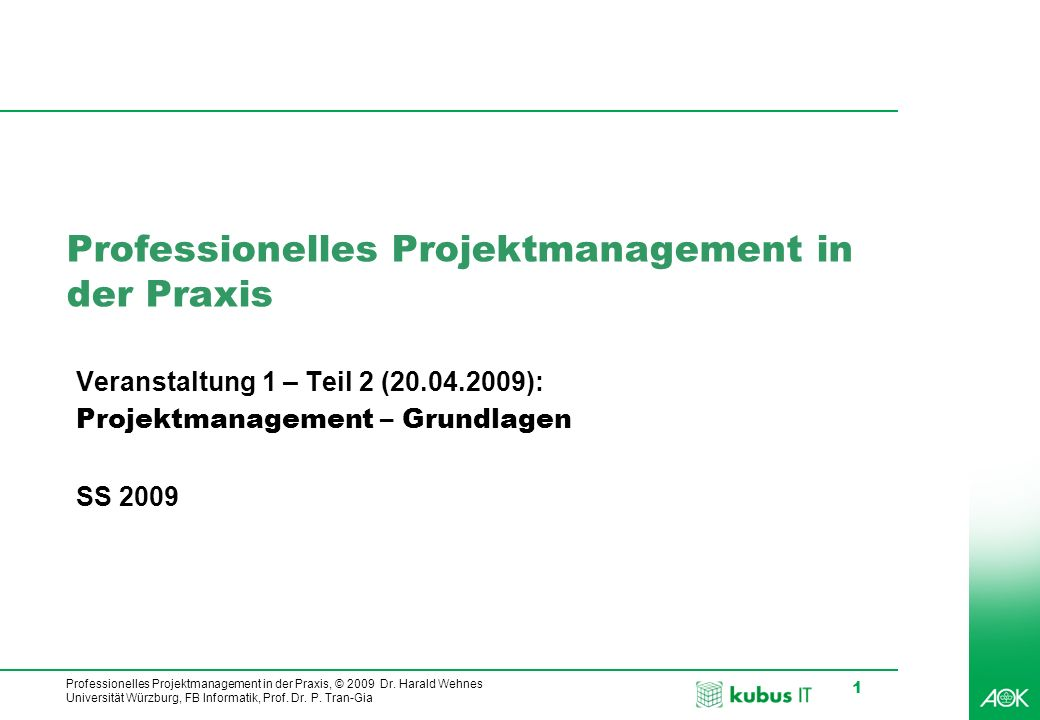 Professionelles Projektmanagement in der Praxis, © 2009 Dr. Harald Wehnes Universität Würzburg, FB Informatik, Prof. Dr. P. Tran-Gia 1 Professionelles