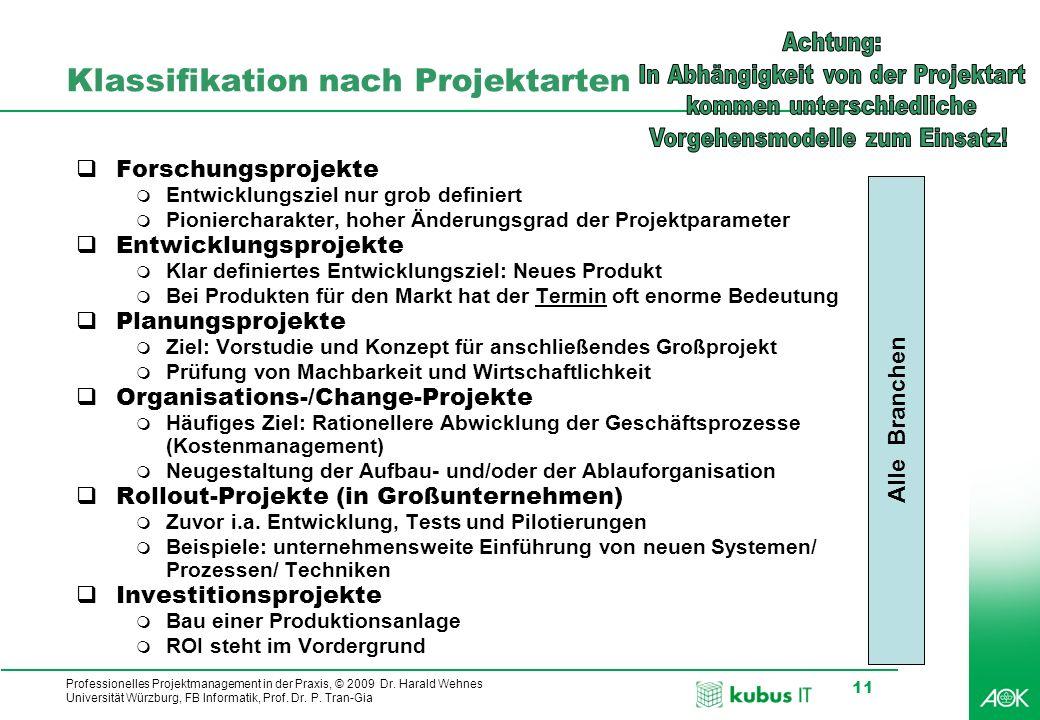 Professionelles Projektmanagement in der Praxis, © 2009 Dr. Harald Wehnes Universität Würzburg, FB Informatik, Prof. Dr. P. Tran-Gia 11 Klassifikation