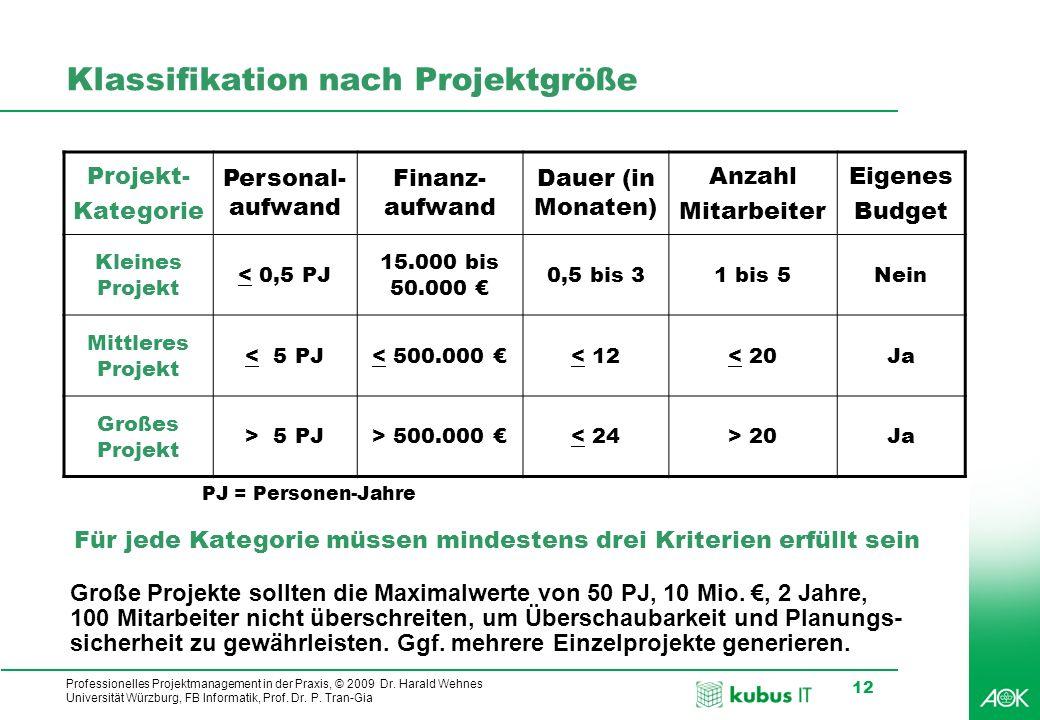 Professionelles Projektmanagement in der Praxis, © 2009 Dr. Harald Wehnes Universität Würzburg, FB Informatik, Prof. Dr. P. Tran-Gia 12 Klassifikation