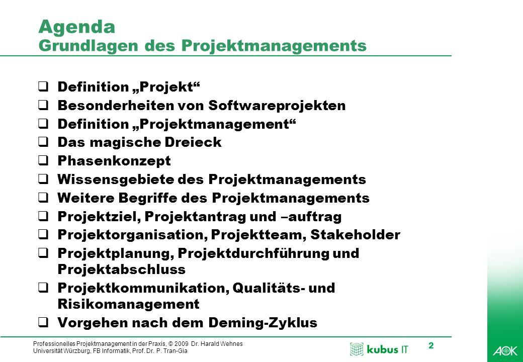 Professionelles Projektmanagement in der Praxis, © 2009 Dr. Harald Wehnes Universität Würzburg, FB Informatik, Prof. Dr. P. Tran-Gia 2 Agenda Grundlag