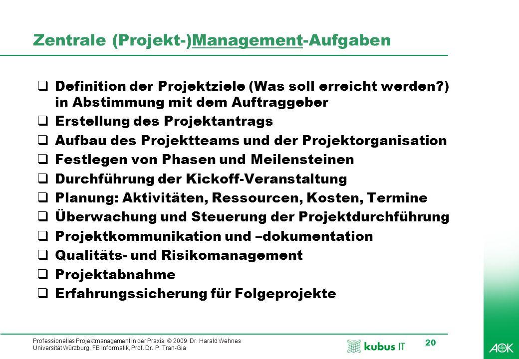 Professionelles Projektmanagement in der Praxis, © 2009 Dr. Harald Wehnes Universität Würzburg, FB Informatik, Prof. Dr. P. Tran-Gia 20 Zentrale (Proj